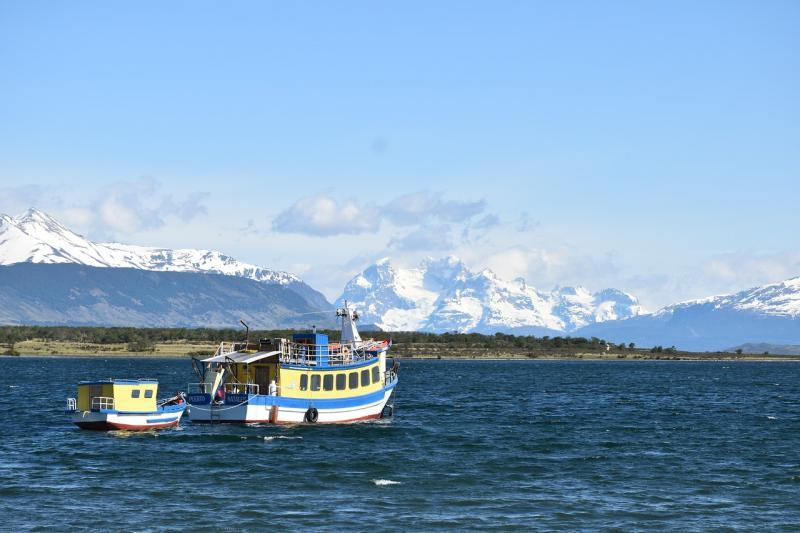 Boot vor Puerto Natales, Chile